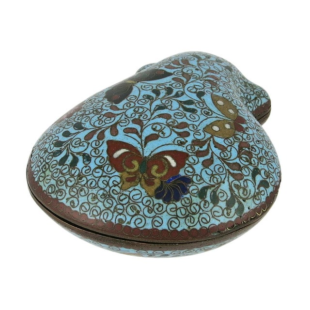 An unusual Japanese small cloisonne box in the form of a clamshell. The top and base are decorated with scrolled vines and...