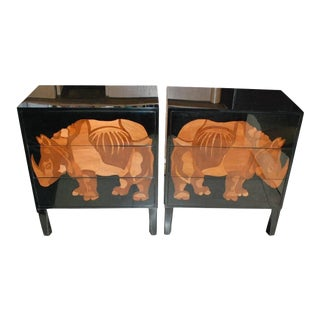 Pair of Lacquered and Wood Inlay Rhino Design Chest of Drawers For Sale