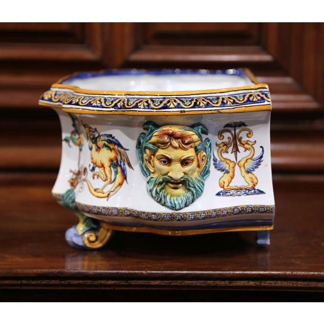 Late 19th Century Large 19th Century French Louis XV Hand-Painted Faience Jardinière Signed Gien For Sale - Image 5 of 11
