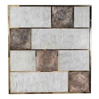Art Wall Panel With Brass, Distressed Silver Leaf and Textured Finish by Paul Marra For Sale