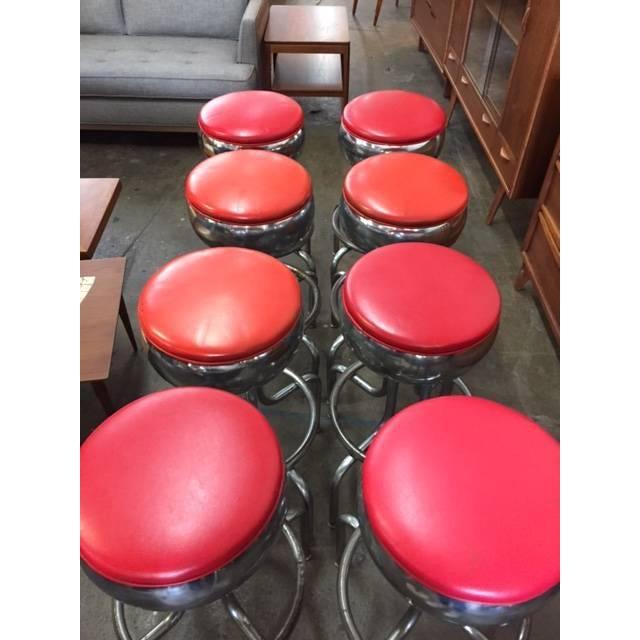 Mid-Century Chrome Diner Bar Stools- Set of 8 - Image 4 of 8