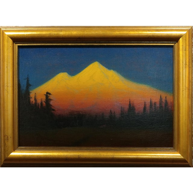 James Everett Stuart- Sunset Glow at Mt Shasta -Beautiful Oil Painting 1921 oil painting on board Signed ,dated and...
