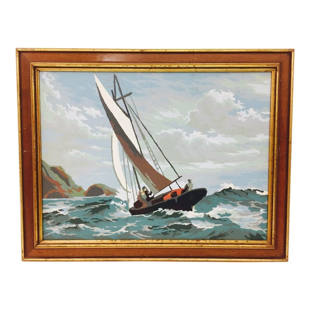 Vintage Seascape Painting in Gilt Trim Frame For Sale