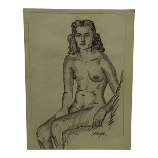 """""""The Look - Nude"""" Original Drawing on Paper"""
