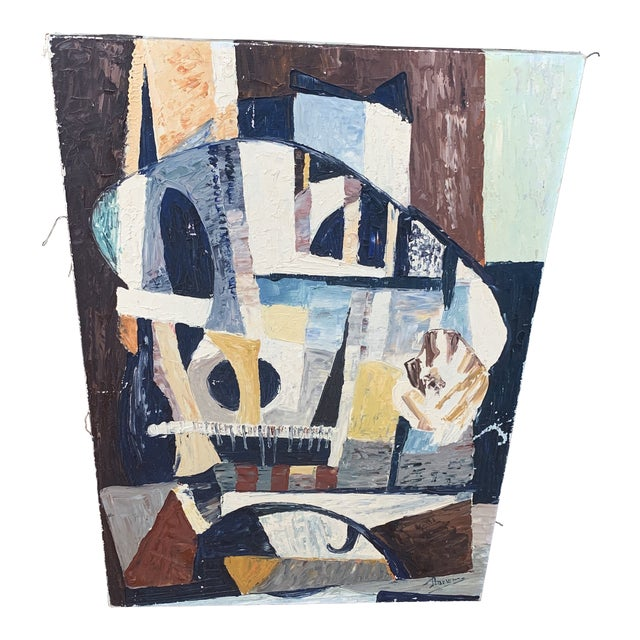 """1940s French Abstract Painting Titled """"Notre Dame Paris"""" For Sale"""