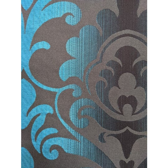 Fun Brown & Teal Paisley Patterned wallcovering. Upholstery Fabric Manufacturer: Unknown Made between 2010-2020 Commercial...