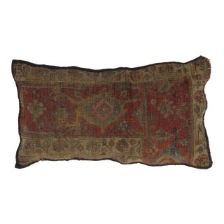 """Persian Antique Rug Fragment Pillow - 1'2"""" X 2' For Sale"""
