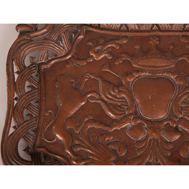 Antique French Copper Tray with Heraldic Lions circa 1890 For Sale - Image 4 of 8