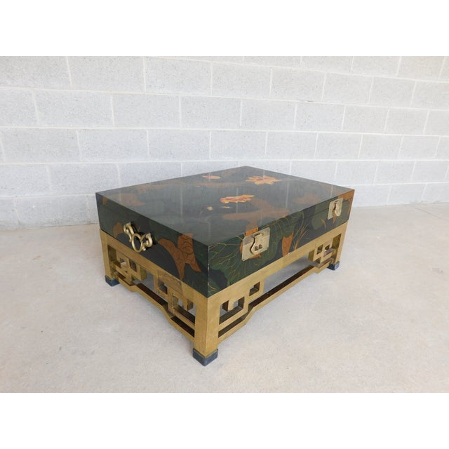 Features Fine Quality Constructed, 2pc Lift Lid Storage, on-top of Brass Base Original Finish, Good Condition, Brass Base...