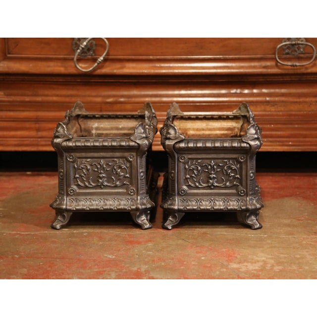 19th Century French Polished Iron Outdoor Jardinières With Raised Decors - a Pair For Sale - Image 9 of 11