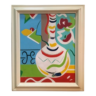 Ardrey Vintage Mid Century Modern Abstract Pop Art Still Life Oil Painting For Sale