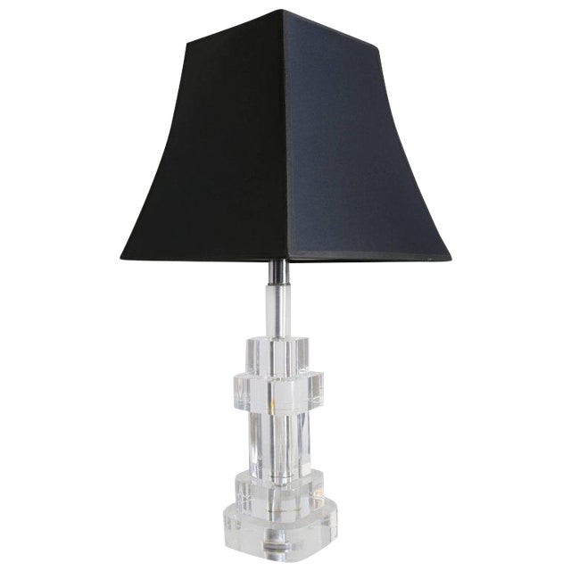Clear Lucite Table Lamp Attributed to Karl Springer For Sale