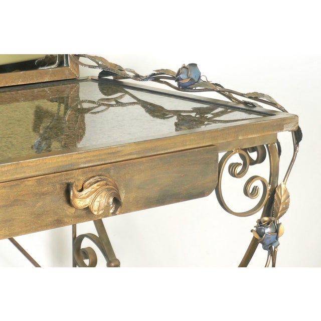Bronze Wrought Iron Vanity & Mirror With Granite Table Top , Floral Accents & Coordinating Bench For Sale - Image 7 of 13