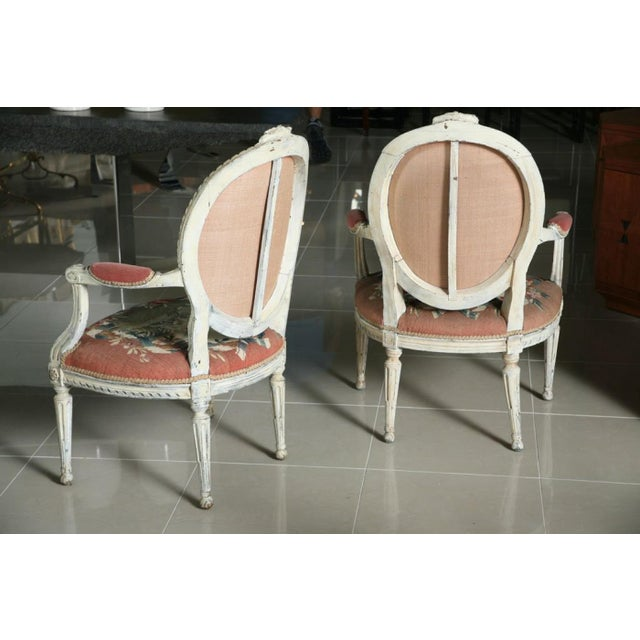 French Fine Pair of Swedish Neoclassic Painted Armchairs For Sale - Image 3 of 9