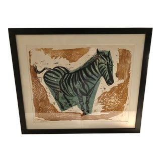 """Mid-20th Century Signed Lithograph Painting, """"Zebra"""" by Irving Amen"""