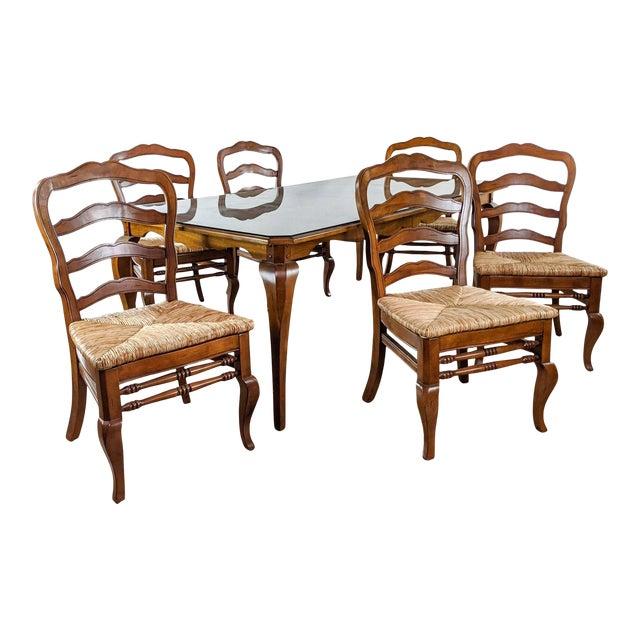 Ballard Designs Wooden Dining Set 7 Pieces Chairish
