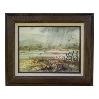 Late 20th Century Ducks and Landscape Watercolor Painting, Framed For Sale