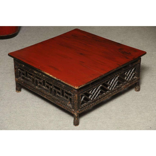 Small 19th Century Chinese Bamboo with Red Lacquered Top Coffee Table For Sale - Image 10 of 11