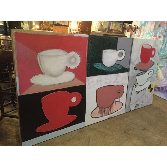 Pop Art Original Pop Art Coffee Cups Painting by California Artist Casey O'Connor For Sale - Image 3 of 11