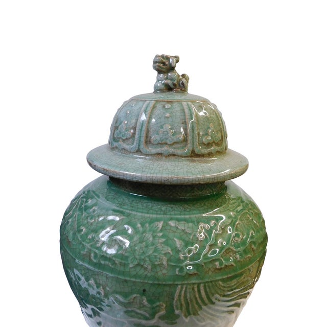 Chinese Crackle Celadon Green Temple Jar - Image 2 of 8