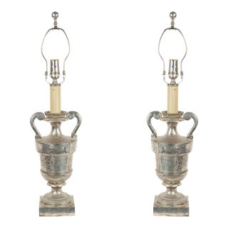 American Mid-Century Silver Plate Urn Table Lamps - a Pair For Sale