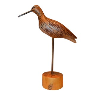 Hand Carved Wooden Bird With Glass Eyes For Sale