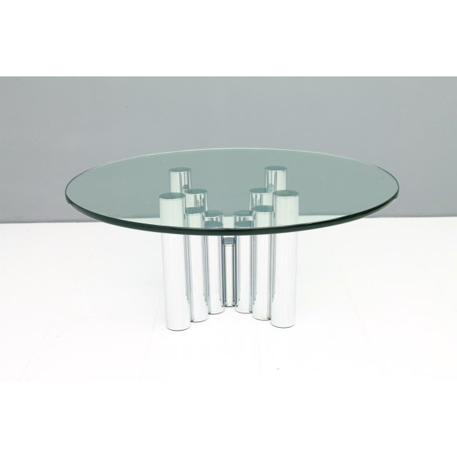 Coffee Table in Chrome and Glass, 1970s. H 42 cm, DM 100 cm. Very good condition. Worldwide shipping