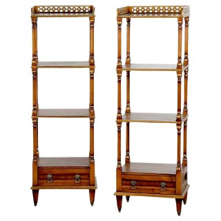 Pair of English Regency Style Mahogany and Burl Three-Tier Étagères For Sale