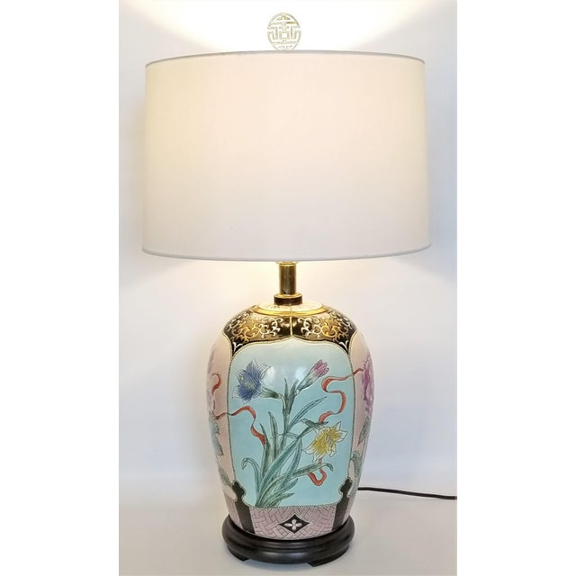 Large Famille Rose Noire Porcelain Chinese Table Lamp Flowers and Leaves For Sale - Image 13 of 13