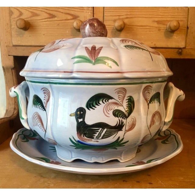 """Mid 20th Century Longchamp """"Blue Duck"""" French Faience Majolica Soup Tureen For Sale - Image 13 of 13"""