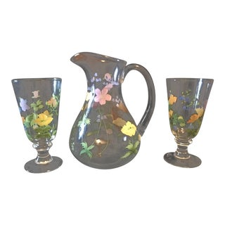 Oneida Hand Painted Ice Tea Service Pitcher and Glasses - Set of 3 For Sale