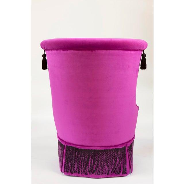 """Wood """"Minna"""" Velvet Boudoir Chair For Sale - Image 7 of 10"""