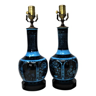Early 20th Century Blue and Black Floral Glazed Table Lamps - a Pair For Sale
