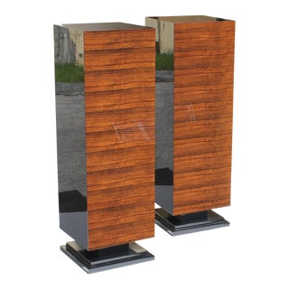 1940s Vintage French Art Deco Exotic Macassar Ebony Pedestals - a Pair For Sale