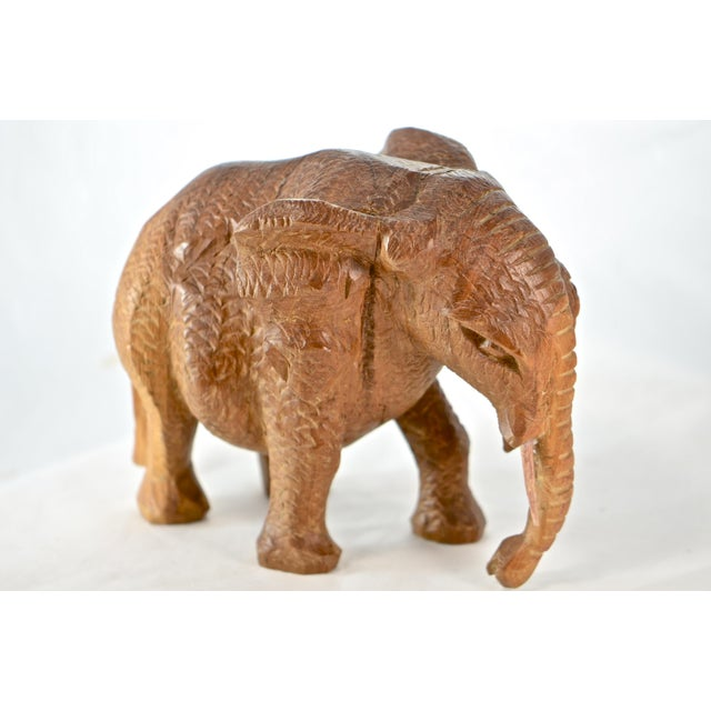 African Hand Carved Wood Elephant For Sale - Image 3 of 9