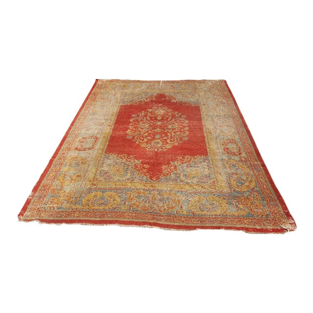 Early 19th Century Antique Turkish Oushak Rug - 9′6″ × 13′4″ For Sale