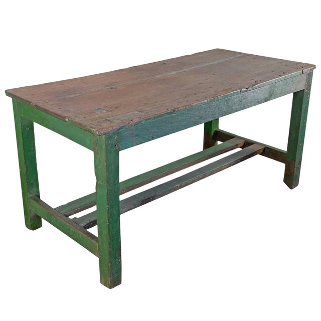 Large French Industrial Wooden Table With Green Paint For Sale