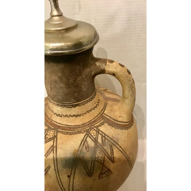 Large Hand Thrown Moroccan Style Hand Painted Pottery Vase Table Lamp For Sale - Image 4 of 6