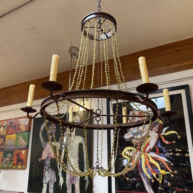 Mid 20th Century 1940's French Six Light Chandelier For Sale - Image 4 of 13