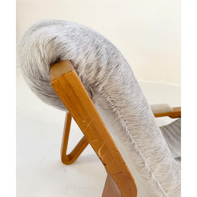 Animal Skin Harvey Probber Suspension Chair Restored in Brazilian Cowhide For Sale - Image 7 of 12