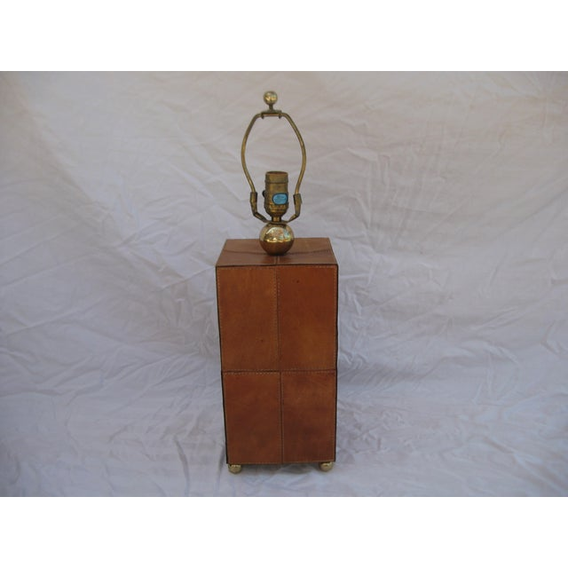Jean Royere Attributed Leather Patch Lamp - Image 4 of 8