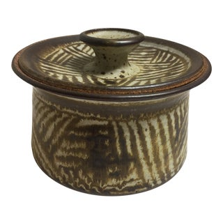 Late 20th Century Small Studio Pottery Dish With Lid For Sale