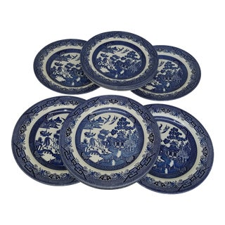 1990s Vintage Churchill England Blue Willow Dinner Plates - Set of 6 For Sale