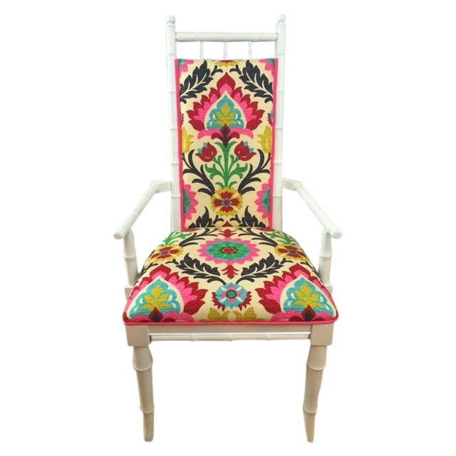White Bamboo Suzani Accent Chair - Image 1 of 5