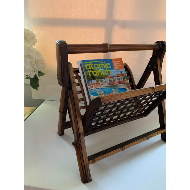 Mid-Century Modern Vintage Folding Bamboo and Rattan Magazine Rack For Sale - Image 3 of 5