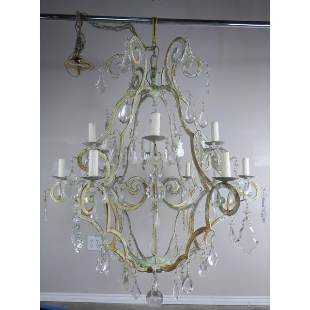 Monumental Painted Wrought Iron Crystal Chandelier For Sale - Image 4 of 11