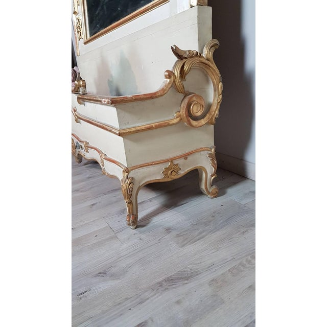 19th Century Italian Baroque Style Carved Lacquered Golden Wood Floor Mirror For Sale - Image 11 of 12