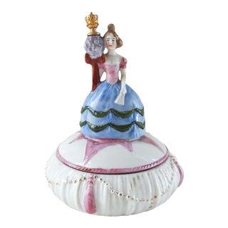 1920's Figural Porcelain Perfume Bottle & Trinket Box For Sale