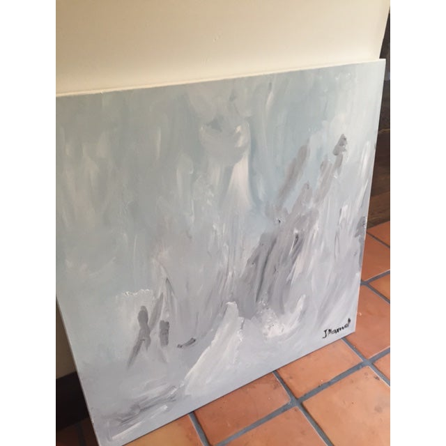 """""""Untitled #2"""", Gray Abstract Painting - Image 4 of 8"""