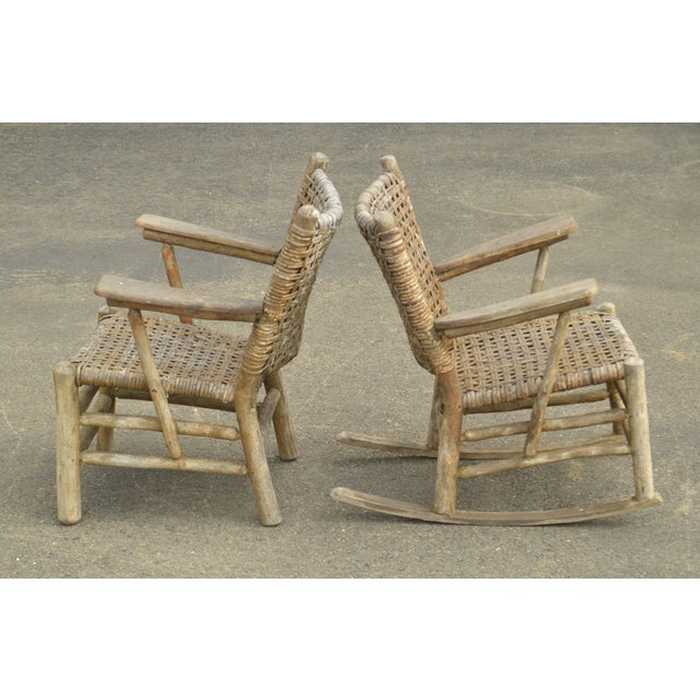 Old Hickory Furniture Co. Old Hickory Antique Rustic Armchair & Rocker For Sale - Image 4 of 12